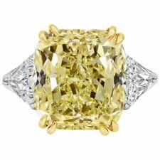 Pure 925 Sterling Silver 13.33Carat Yellow Diamond Three Stone Engagement Ring