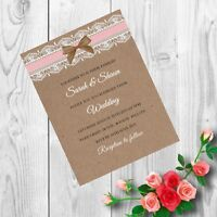 Personalised Handmade Wedding Invitations Invites Day Evening Vintage x 50 AWI