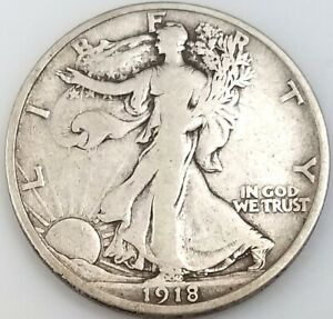 1918 D Walking Liberty Half Dollar! Sharp details!
