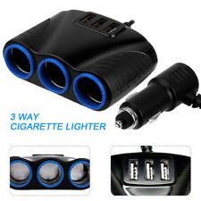 Usb Charger 12V Power Adapter 3 way Car Multi Cigarette Lighter Socket Splitter