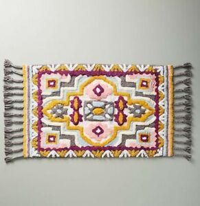 BNIB Anthropologie Tasseled Rug Pattern Bath Mat RRP £44