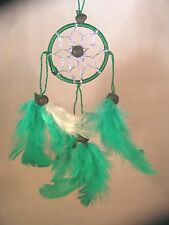 Green with Silver Web Dreamcatcher, Handmade, Hang on the rear view mirror