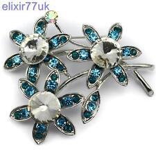 """2.6"""" SILVER BOUQUET BLUE FLOWER GEM BROOCH DIAMANTE CRYSTAL WEDDING PARTY BROACH"""