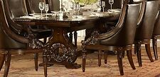"""GRAND DARK CHERRY 108"""" FORMAL DINING TABLE 8 BROWN LEATHER CHAIRS FURNITURE SET"""