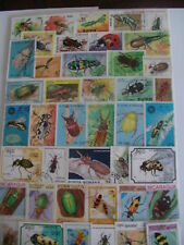 50 TIMBRES ANIMAUX / INSECTES : 50 TIMBRES TOUS DIFFÉRENTS /  STAMPS INSECTS