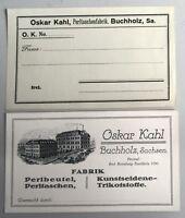 Ca. 1900/10 Oskar Kahl in Annaberg Buchholz Sachsen Fabrik Reklame Visitenkarte