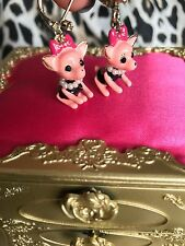 Betsey Johnson Vintage Film Noir Pink Chihuahua Girl Dog Earrings VERY RARE