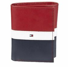 Tommy Hilfiger Men's Premium Leather Trifold Red Navy Wallet RFID 31TL110022