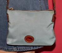 "DOONEY & BOURKE Blue ""NYLON CROSSBODY"" Brown Leather Shoulder Bag Purse"