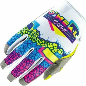 O'Neal Racing Mayhem Crackle '91 Motorcycle Glove - White/Yellow/Blue, All Sizes