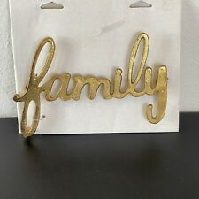 NWT Family Spell Out Metal Wall Plaque Gold Color Farmhouse Country