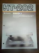 Hitachi Brochure~HT-202 Turntable~Catalog Insert~Specifications