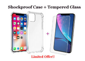 For iPhone 11 Pro X XR XS Max Clear Gel Shockproof Case Cover & Screen Protector