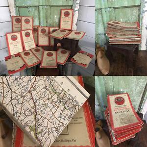JOB LOT 18 VINTAGE Ordnance Survey CLOTH & Paper Maps England United Kingdom UK