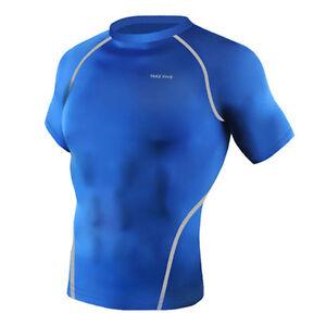 Take Five Mens Skin Tight Compression Base Layer Running Shirt S~2XL Blue NT054