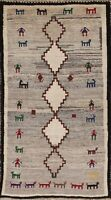 Vintage Tribal Geometric Gabbeh Area Rug Hand-knotted Oriental Wool Carpet 3'x6'