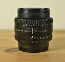 NIKON AF NIKKOR 50MM 1:1.8D PRIME LENS WITH CAPS &  FILTER