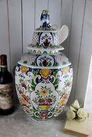 Huge BOCH Delft decor polychrome ceramic Floral paint VASE foo dog lidded mark