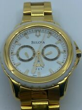 BULOVA Marine Star Multi-Function White Dial Gold-tone Men's Watch 97N103