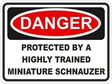 Dog Breed MINIATURE SCHNAUZER Danger Sticker Pet for Bumper Locker Car Door