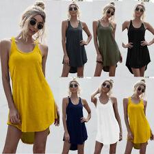 Women Summer Crew Neck Tank Top Mini Dress Casual Loose Solid Skirt Beach Dress