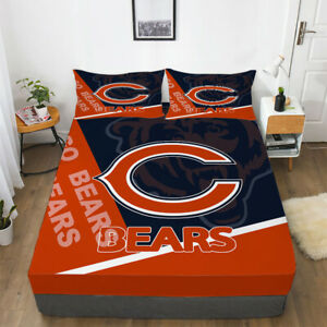 Chicago Bears Deep Pocket Fitted Sheet 3PCS Set Soft Cotton Bed Sheet Pillowcase
