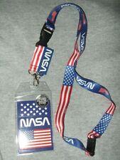 NASA Lanyard USA Flag Kennedy Space Center Shuttle Work ID Card Key Badge Charm