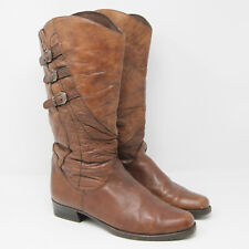 Vintage Deichmann 1980s 80s Tan Brown Leather Cowboy Boots Shoes Size 40 7