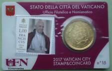 Vaticano 50 EURO CENT GETTONE 2017 STAMP & COINCARD no. 15 francobollo + moneta euro FDC