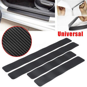 4PCS Car Door Sill Scuff Carbon Fiber Stickers Welcome PedalProtectAccessoryy3