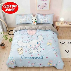Adorable Cinnamoroll Blue Custom Name Bedding Set