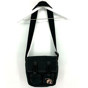 Volcom Women's Medium Black Canvas Crossbody Shoulder Bag Pockets