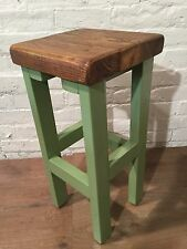 Hand Painted Country Hand Made Reclaimed Solid Wood Kitchen Island Bar Stool