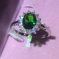 1.60Ct Oval Cut Green Emerald Diamond Halo Engagement Ring 14K White Gold Finish