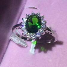 1.60Ct Oval Cut Green Emerald Diamond Halo Engagement Ring 14K White Gold Finish