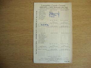 1949 England v New Zealand - 3rd Test @ Old Trafford - Scorecard - Excellent