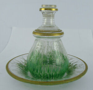 Early 20th C Daum Style Painted Glass Floral Inkwell & Base