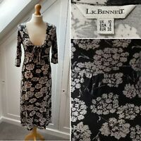 LK BENNETT (Size 10) - Black And White Floral Dress - Work Special Occasion