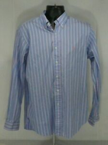 Ralph Lauren Mens Dress Shirt 16 34/35 Pink Blue L/S Classic Fit Striped Oxford