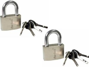 2 x Am-tech T0720 40 mm High Security Quality Padlocks - Stainless Steel Shackle