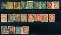 Canada #34-45 used F/XF 1870-1897 Queen Victoria Small Queen cancels & shades