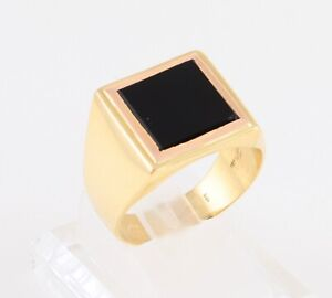 Men's Gents Vintage 18Ct 18K Gold And Onyx Signet Ring