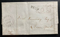 1842 Toronto Canada Stampless Letter Cover To New York USA Wax Seal