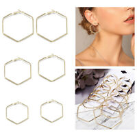 6Pairs Women Big Circle Hoop Steampunk Gold Geometric Earrings Fashion Jewelry