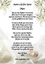 Día de boda gracias regalo, madre de la novia de novio poema A5 Foto