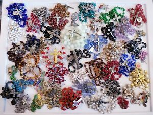 LARGE 45+ Vintage Mod Religious Rosary Rosaries LOT Czech France Italy Sterling+