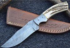 """HUNTEX Handmade Damascus 9"""" Long Deer Horn Straight Back Hunting Skinning Knife"""