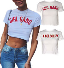 Womens Ladies Slogan Print Short Sleeve Crop Top T-Shirt Vest Stretch Girl Gang