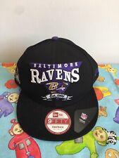 Baltimore Ravens New Era NFL Flat Cap Snapback Size S M 9 Fifty Black