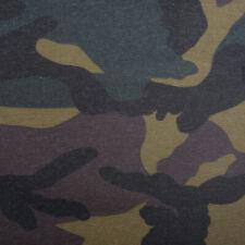 Tischdeckenstoff Enduit Coton Camouflage Vert Gris Noir 1,40m Large